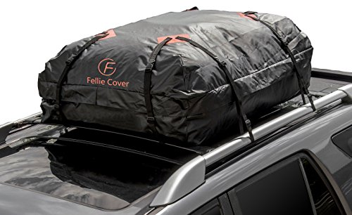 F Fellie Cover Car Cargo Bag Waterproof Roof Carrier Bag with Heavy Duty Wide Straps Buckles for Car SUV Jeep (16 Cubic Feet Capacity) by F Fellie Cover