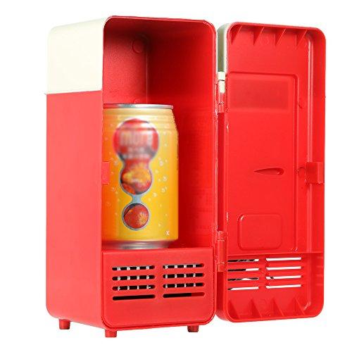 Anself Mini USB Réfrigérateur pour Boissons Boîtes de Réchauffeur Refroidisseur LED Lumière