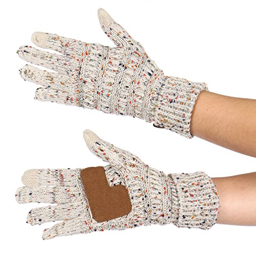 Serenita C C Unisex Cable Knit Confetti Smart Touch Winter Warm Touchscreen Texting Gloves Oatmeal