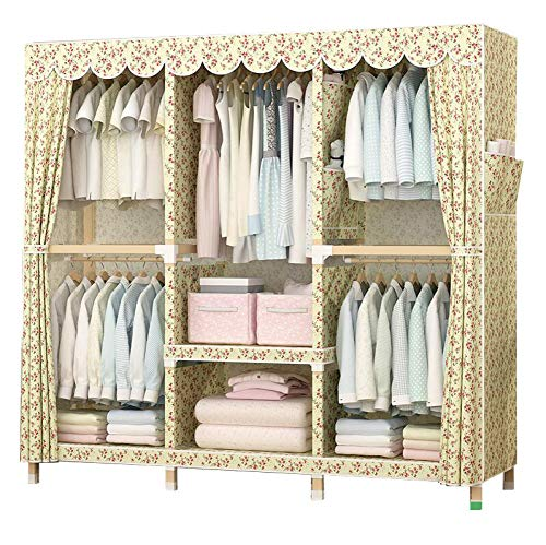Cotton Armoire - HMEIGUI Portable Closet Shelves Cloth Wardrobe - Brushed Cotton Armoire Wardrobe Closet with Hanging Rod, Reinforced Solid Wood,Flower1_69x59inch