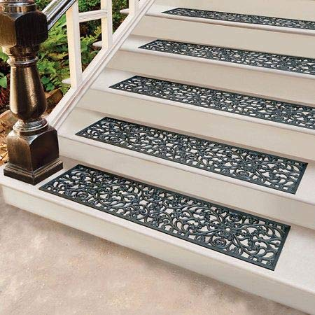 Rubber Stair Treads -  Set of 4 - 30 Inch Wide Outdoor Black Scrollwork Rubber Non-Slip Stair Treads Mat by Palos Designs