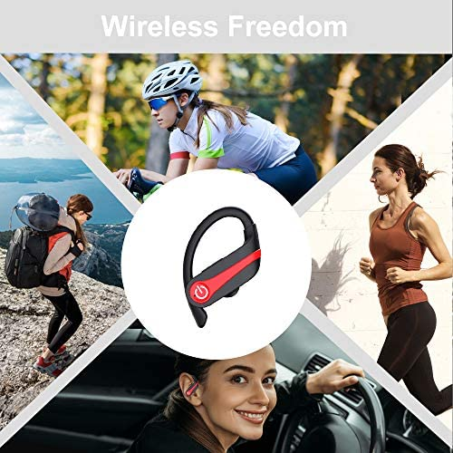 MuGo Wireless Earbuds, Bluetooth 5.1 Sport Headphones with Immersive Sound, Wireless Earhooks Headphones, 10H Single Playtime, CVC8.0 Noise Cancelling, IP7 Waterproof Wireless Earphones for Running