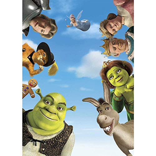 Photography Backdrops 5x7 Blue Sky Green Monster Shrek Birthday Vinyl Backgrounds for Kids Party Vinyl Photo Studio Backgrounds]()