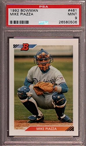 1992-bowman-461-mike-piazza-los-angeles-dodgers-rookie-card-psa-9-graded-card