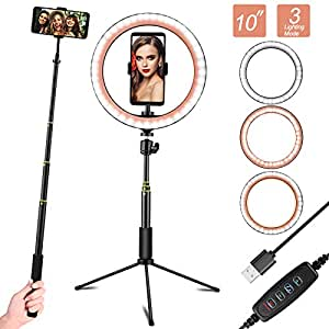 "EEEKit 10"" Ring Light with Tripod Stand & Phone Holder for YouTube Video, Desktop Camera Led Ring Light for Streaming, Makeup, Selfie Photography Compatible with iPhone Android"