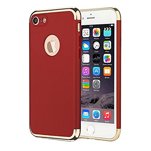 Price comparison product image Urberry Iphone 5/5S/SE Shock-proof Case, Black Luxury Case for Iphone 5S/SE with a Free Screen Protector (Red)