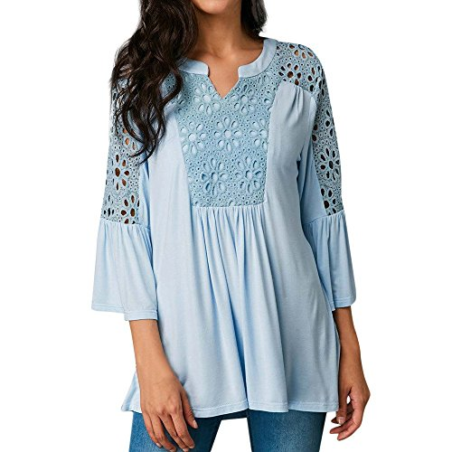 Clearance Stitching Skirt Top, Women Casual Solid Split Neck Lace Patchwork Long Sleeve Ruffled Tops (Crinkle Ruffled Skirt)