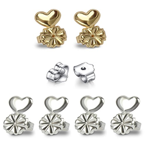 AmzonBasics - Original Magic Earring Lifters ❤ 3 Pairs of Adjustable Earring Lifts (2 Pair of Sterling Silver and 1 Pair of 18K Gold Plated) + Bonus 1 Pair Sterling ()