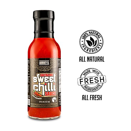Aubrey D. XXXtra Hot Sweet Chili BBQ Sauce, Great Flavor for Barbecue Chicken Wings, Fish, Beef, Ribs