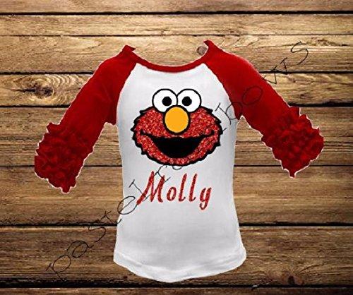 Personalized Elmo Icing Raglan-Elmo Shirt-Sesame Street Live Shirt-Elmo Birthday - Birthday Personalized T-shirt Elmo