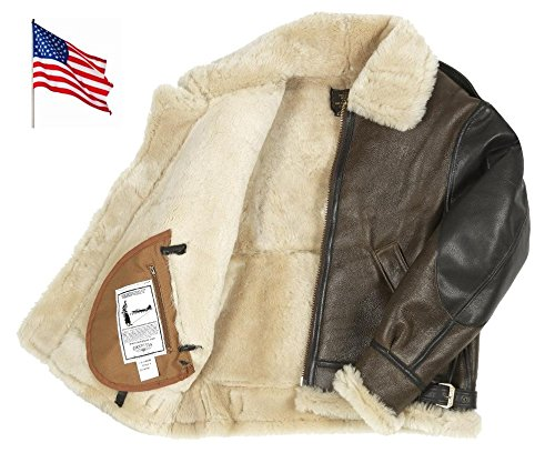 Cockpit USA Blouson Bombardier B3 du Général George Smith Patton en Peau de Mouton Ex Avirex Made in USA 3