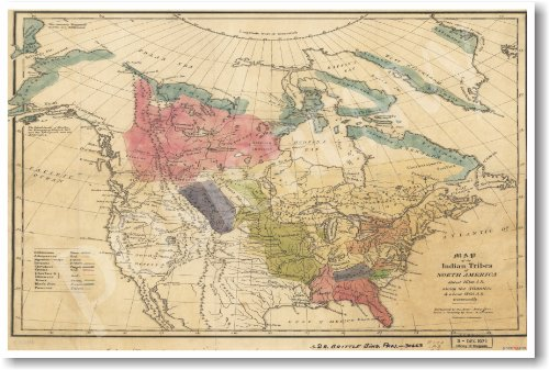 American History: Vintage Map of Native American Tribes - Classroom Poster
