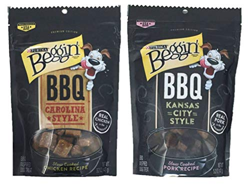 (Purina Beggin' BBQ Dog Treats Variety Pack Bundle of 2 Flavors: BBQ Carolina Style (5.2 oz) and BBQ Kansas City Style (5.2 oz))