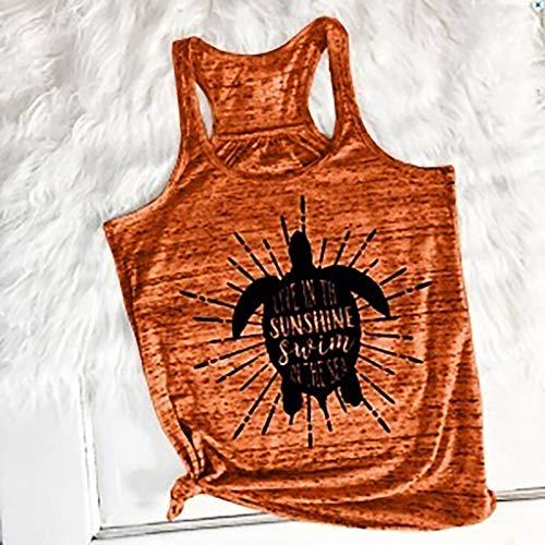 cou Gilet Manches Blouse Impression Femmes vêtements Bellelove De Lâche Bande nbsp;mode Hauts Pour Dames Femme Chemise Orange O Dessinée Mode Sans 7qI6OS