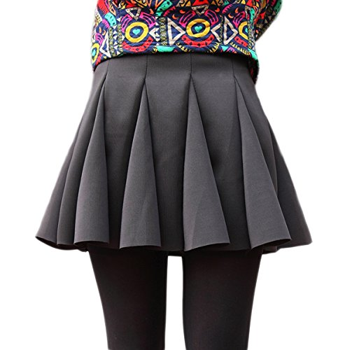 Chouyatou Women's Fish-tail Knitted High-waist Umbrella Skirt (Medium, Black)