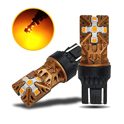 LivTee 7443 7440 7444 T20 LED Bulbs Super Bright Replacement for Turn Signal Blinker Lights, Amber Yellow ()