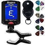 Anpro Afinador Digital de Clip para guitarra, Ukelele, Violín,Afinador guitarra con puas- Digital Clip Tuner for Guitar, Ukulele, Violin with picks for Guitar