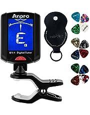 Anpro JT-10 Clip-on digitale tuner stemmer + 12 x plectrum picks met 3 verschillende diktes + 1 x pickhouder, plectrumhouder voor gitaar, viool, ukelele, chromatisch stemapparaat