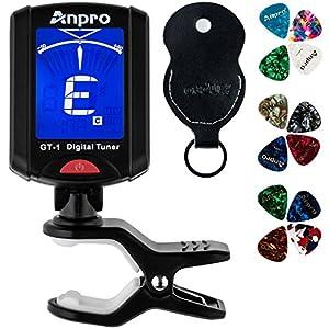Anpro JT-10 Clip-On Digital Tuner Stimmer + 12 x Plektrum Plektron Picks mit 3 verschiedene Stärken + 1 x Pickholder…
