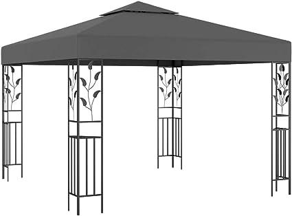 vidaXL Cenador Carpa Toldo de Exterior Jardín Carpa Tienda de Fiesta Sombra en Terraza Gazebo para Evento al Aire Libre Gris Antracita