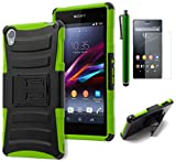 Xperia Z3 Phone Case, Bastex Hybrid Protective Soft Neon Green Silicone Cover Hard Black Kickstand Holster Case for Sony Xperia Z3INCLUDES SCREEN PROTECTOR AND STYLUS