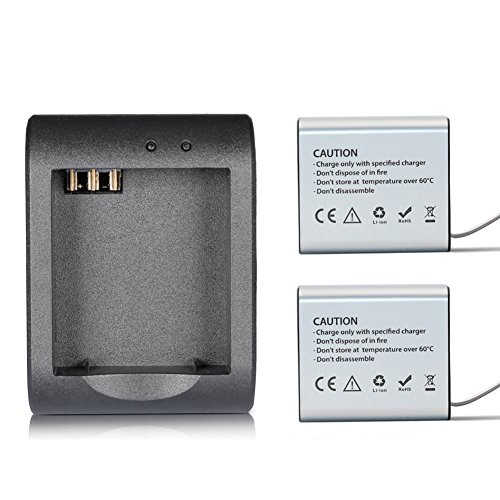 SOOCOO Rechargeable Battery and Rapid Charger for AKASO EK7000 / APEMAN/ODRVM/Campark/NEXGADGET/SJCAM/Soocoo C10S C30 C30R Action Camera (1350mAh batteries2 and 1 Charge for a Set)