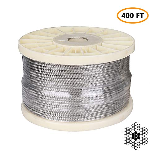 "1/8"" Stainless Steel Aircraft Cable, Marine Grade T316 Stainless Steel Wire Rope, Steel Cable for Deck Railing Stair Railing & DIY Balustrade, 7x7 Braided, 400FT"