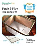 MamaDoo Kids Smart Play Yard Mattress Topper , The Original Foldable Portable Pack and Play Mat with Washable Cotton Cover , Includes Travel & Storage Bag , Silver Grey