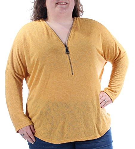Charter Club Gold Geometric Jewel Neck 3/4 Sleeve Sweater 2X ()