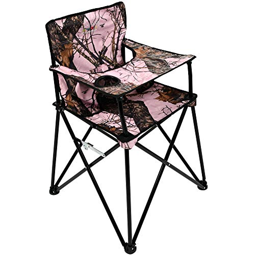 - ciao! baby Portable High Chair for Travel, Fold Up High Chair with Tray, Pink Camo