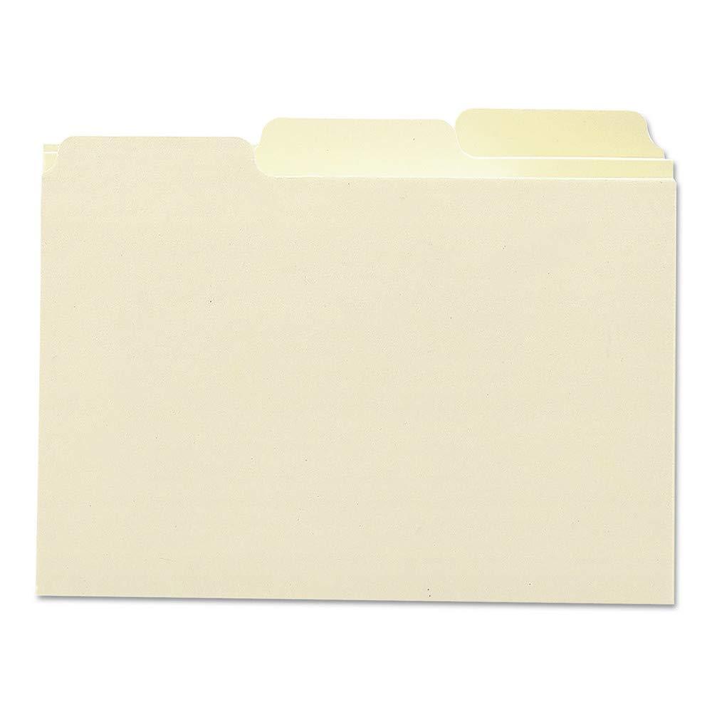 Smead Card Guides with Blank Tab, 5'' x 3'', 1/3-Cut Tab, Manila, Box of 100 by Smead