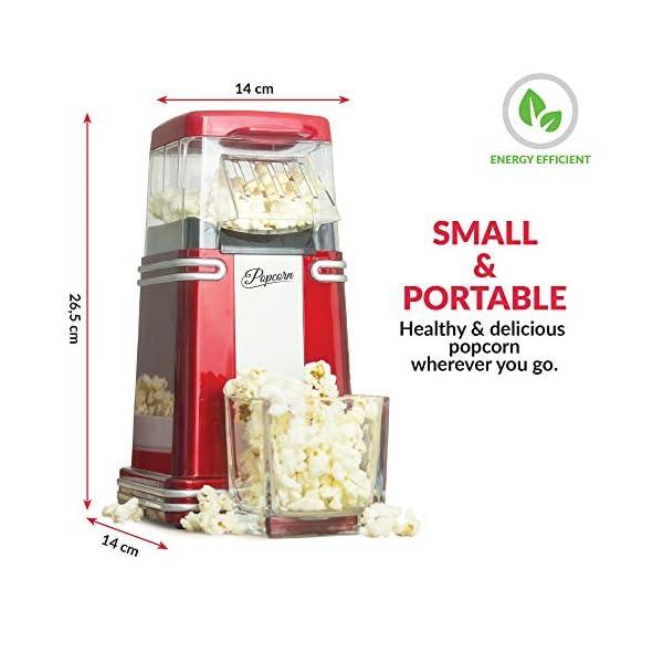 Gadgy ® Popcorn Machine | Retro Macchina Pop Corn Compatta | Aria Calda Senza Olio Grasso l Edizione Rossa Retrò 4