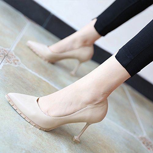 FLYRCX Moda simplificado europeo fuerte remaches y zapatos de mujer de tacón alto A