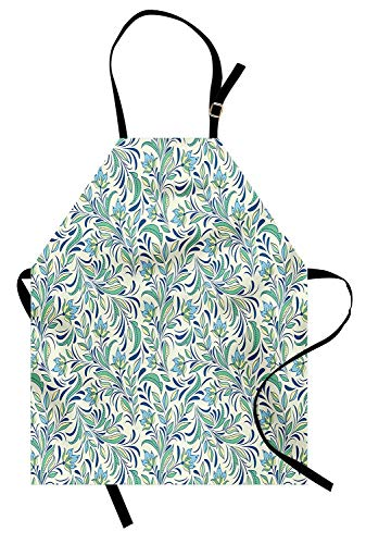 Flower Aprons, Adjustable Bib Kitchen Cooking Apron for Women Men Chef Professional for Baking Gardening- Soft Toned Spring Revival Seasonal Petals Bitter Gourd Blooms Foliage Illustration, Multicolor