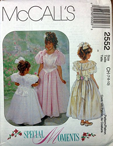 McCalls Sewing Pattern 2552 Girls Party Dress Flower Girl 1st Communion Size 7 to -
