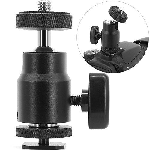 1/4″ Hot Shoe Adapter Mount Camera Ball Head Hot Shoe Mount with 1/4″ Tripod Screw Head for Light LCD Monitors Flash Photography Studio Action Camera