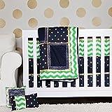 DK Leigh 10 Piece Crib Bedding Set for Boy, Green/Navy/Gold Chevron