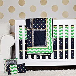 DK Leigh 10 Piece Crib Bedding Set for Boy, Green/Navy/Gold Chevron