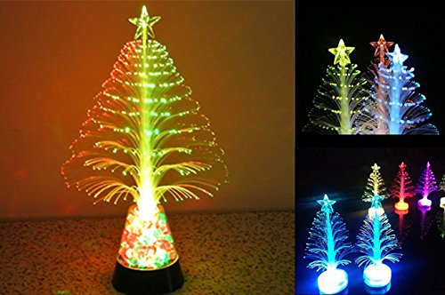 7 Color Christmas Xmas Tree Fiber Optic Led Night Light in US - 2
