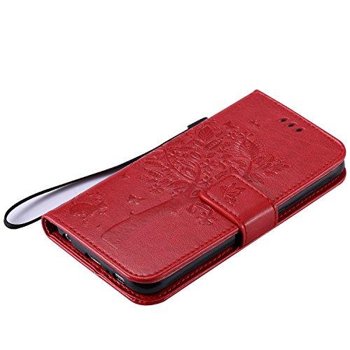 Funda para Galaxy S7 Edge, Galaxy S7 Edge Funda de PU cuero resistente, Galaxy S7 Edge Ultra Slim PU Cuero Folding Stand Flip Funda Carcasa Caso,Galaxy S7 Edge Leather Case Wallet Protector Card Holde Katzen und Baum:Red