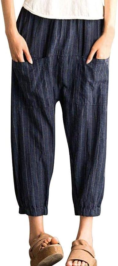 Pantalones De Mujer Verano Mujeres Rayas Retro Mezcla De Ropa Algodón Jeans Estiramiento Cintura Alta Pantalones De Cintura Elástica Floja Ocasional Pantalones Deportivos Pantalón: Amazon.es: Ropa y accesorios