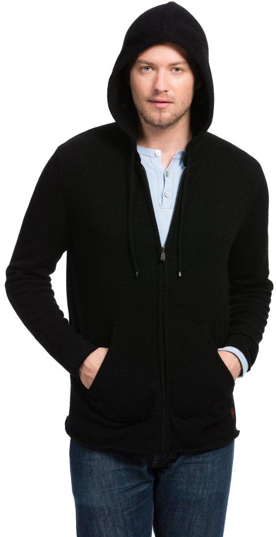 Citizen Cashmere ウールパーカー チベットヤクウール100% メンズ B01JZ9ET62 L|ブラック ブラック L