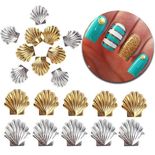3D Nail Art Manicure Designs Decorations Pack With 20pcs 3mm and 5mm Metal Studs In Seashells Sea Shells Shapes Forms, Silver and Golden Colors