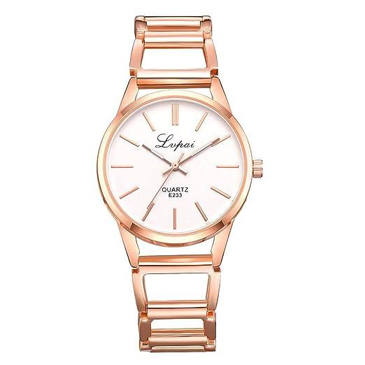 POJIETT Relojes Mujer Señora Moda Reloj Pulsera de Cuarzo Correa de Acero Inoxidable Reloj Dorado Oro Rosa Mujer Joya Regalos Jewelry Wrist Watch Women: ...