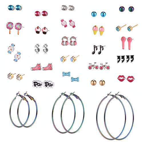 29 Pairs Assorted Multiple Stud Earrings set for Women Girls Simple Hoop earring set (Color-6)