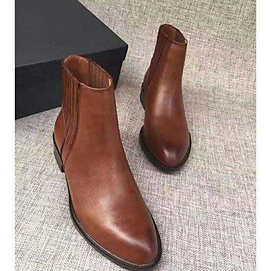 Pour Bottes Noir Casual Printemps Automne Brun Printemps en Femme verni Chaussures cuir foncé Noir gq8OxFn