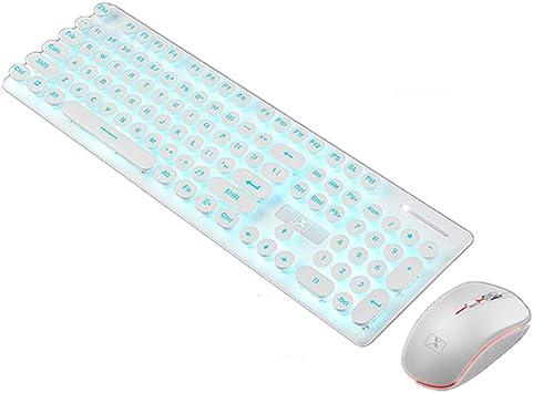 XINMENG Combo de teclado y ratón inalámbricos recargables y ...