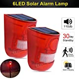 ALLOMN Solar Alarm Light, Sound Alarm Strobe Light PIR Motion Sensor Security Alarm Warning Flashing Light, 110db 6 LED Red Light IP65 Waterproof, Two Modes, 5-8M Sensing Distance (2 PCS)