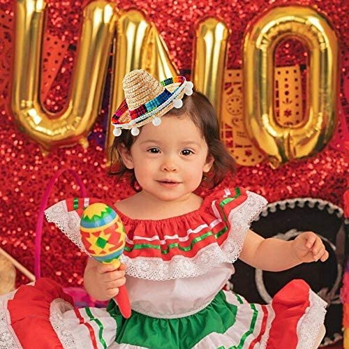 4 PCs Cinco De Mayo Sombrero Headband Hat - Mini Mexican Sombrero Party Hats Decorations for Fiesta Carnival Festivals Birthday Coco Theme and Party Supplies - Sombrero Party Hats White/Black