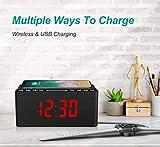 ANJANK Wooden Alarm Clock with FM Radio, 10W